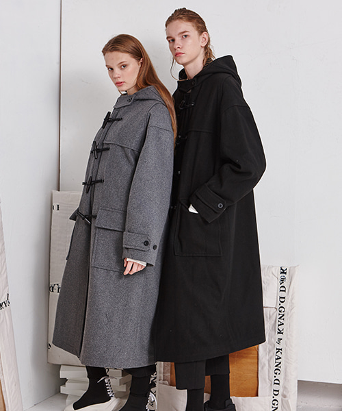 Drop Shoulder Duffle Coat (BK)