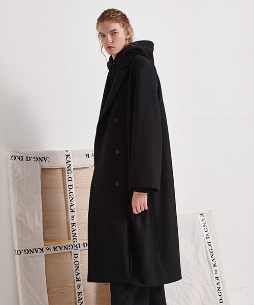 Diagonal Pleat Long Coat (BK)