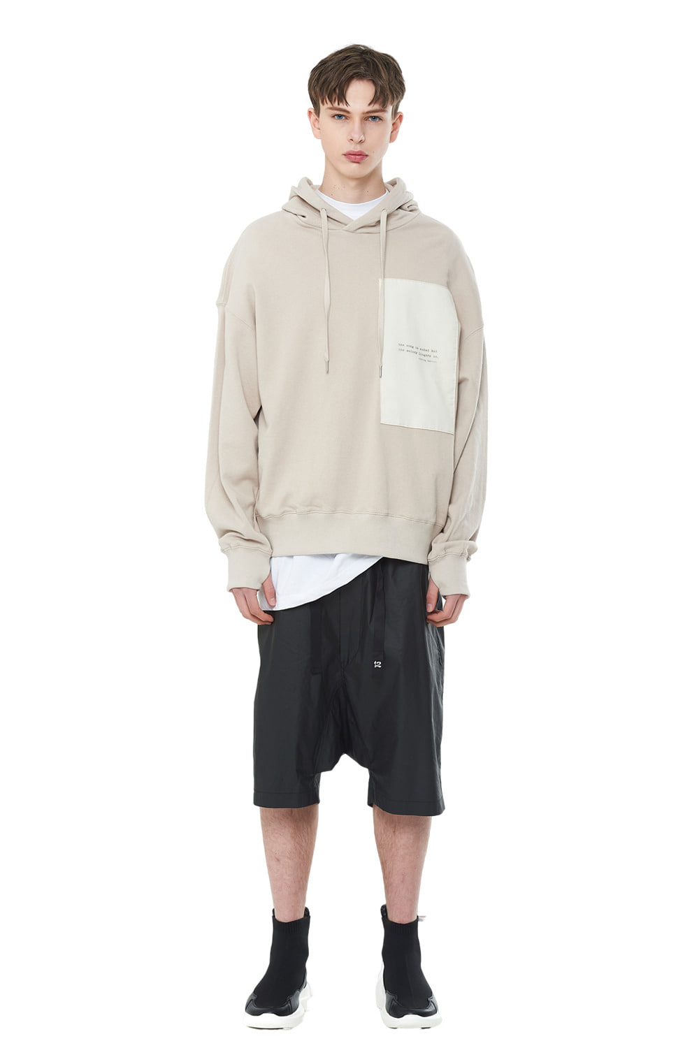 [리퍼브세일][20SS] Layered Patch Hood T-Shirts (BE)_ PA1TS1010