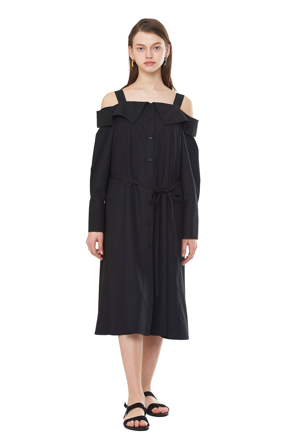 [20SS][50%SALE] Off Shoulder Shirts One-piece (BK)_ W01OP0303