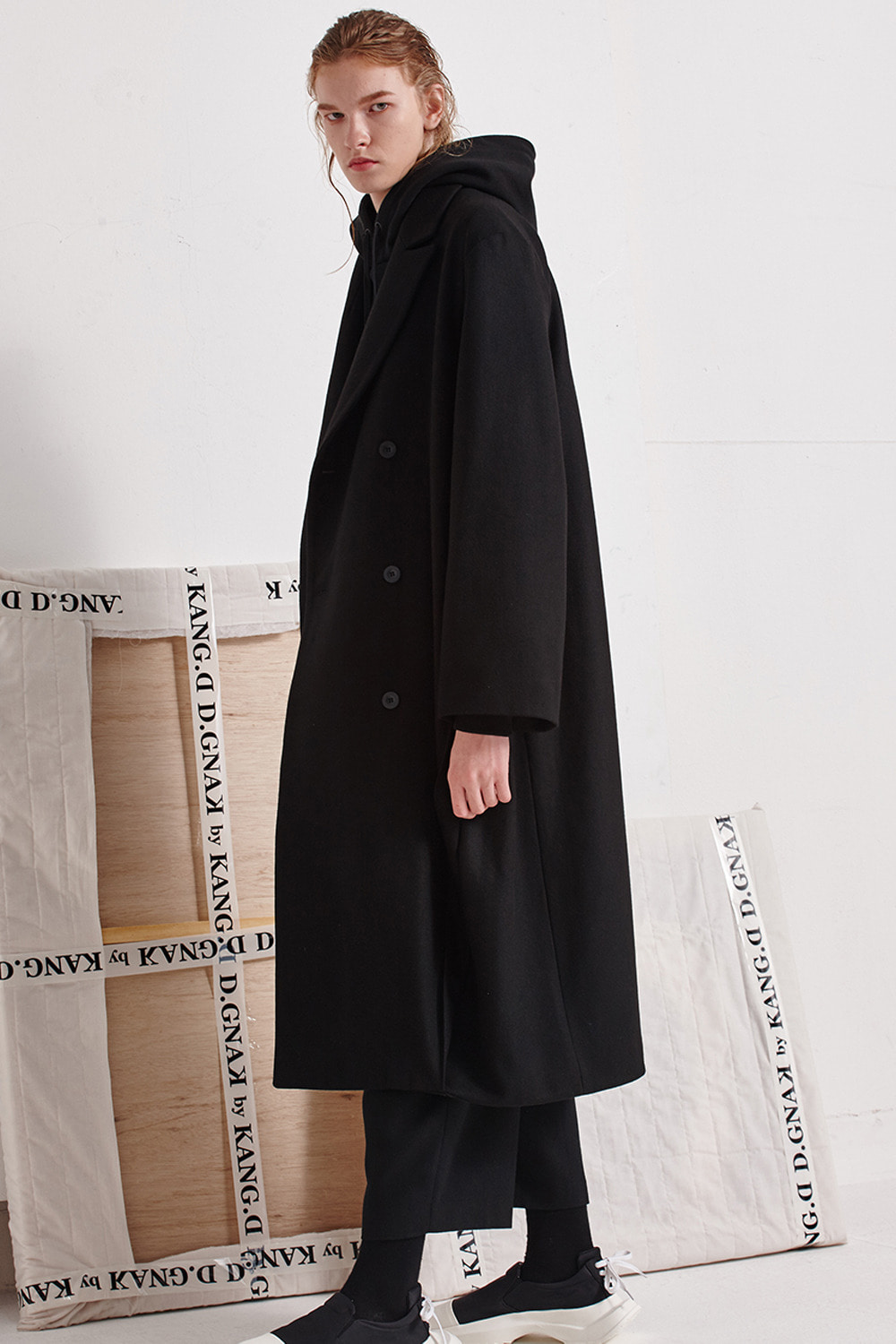 [19FW][60%SALE] Diagonal Pleat Long Coat (BK)